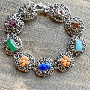 STERLING SILVER JEWELED STONES VICTORIAN BRACELET